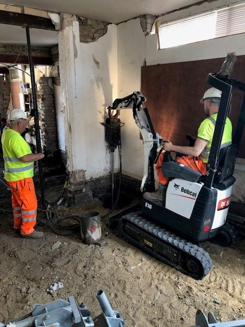 46 Screw Piles Installed to underpin property and support new basement